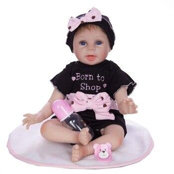 NPK DOLL 22'' Soft Silicone Reborn Dolls Babies Real Like Smile Kids Playmate PP Cotton Body 55cm bebe reborn menina child gift