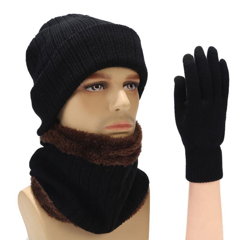 Winter Men Women Warm Thicken Solid Color Striped Knit Hat Scarf Gloves Set