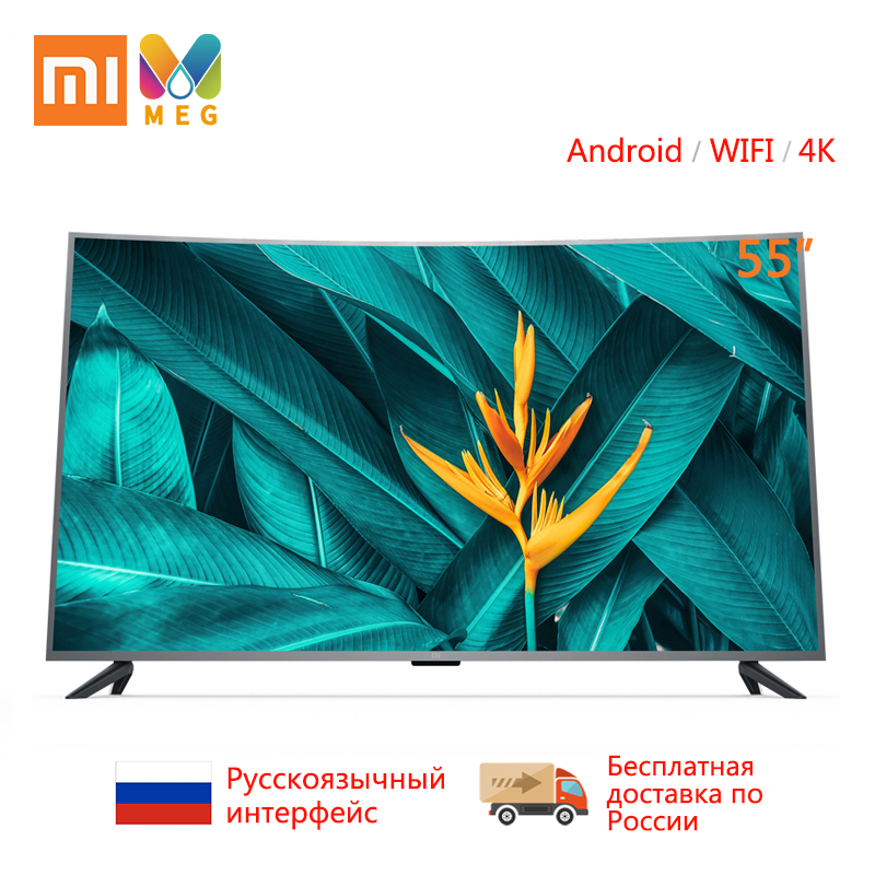 Télévision Xiao mi mi TV Android TV 4S 55 pouces 4000R incurvé 4K HDR écran TV WIFI Ultra-mince 2GB + 8GB Dolby Audio Multi langue