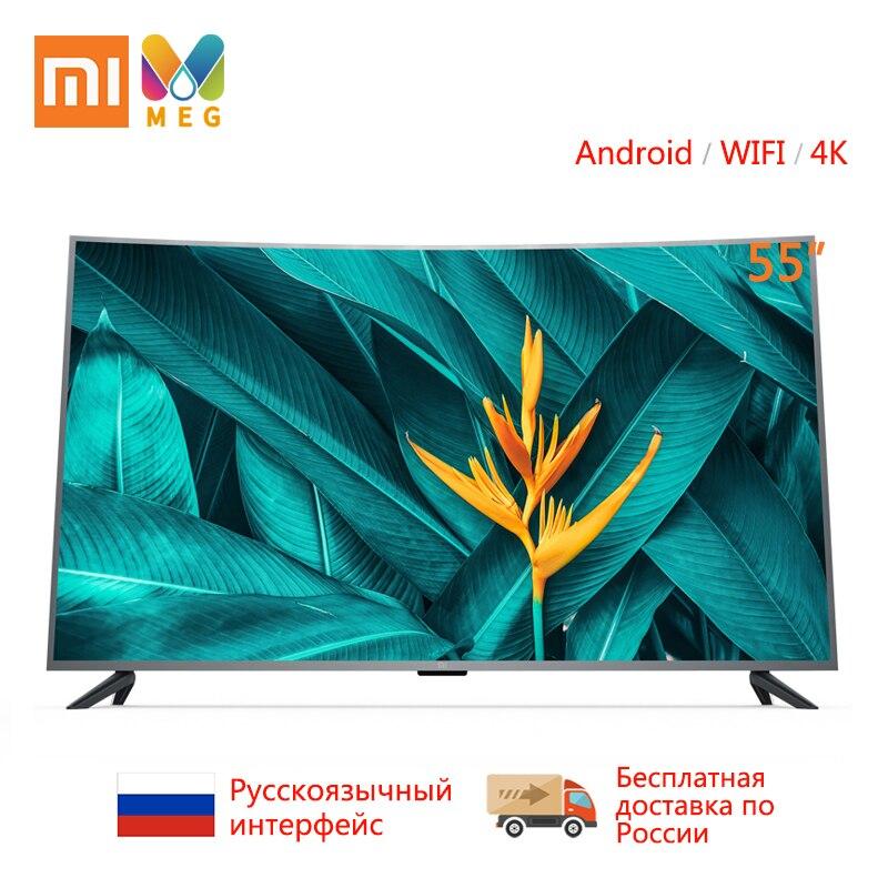 Xiao mi mi TV Android TV televisão 4S 55 polegadas 4000R Curvo 4K HDR WIFI TV de Tela Ultra- fina 2GB + 8GB Dolby Áudio em Vários idiomas