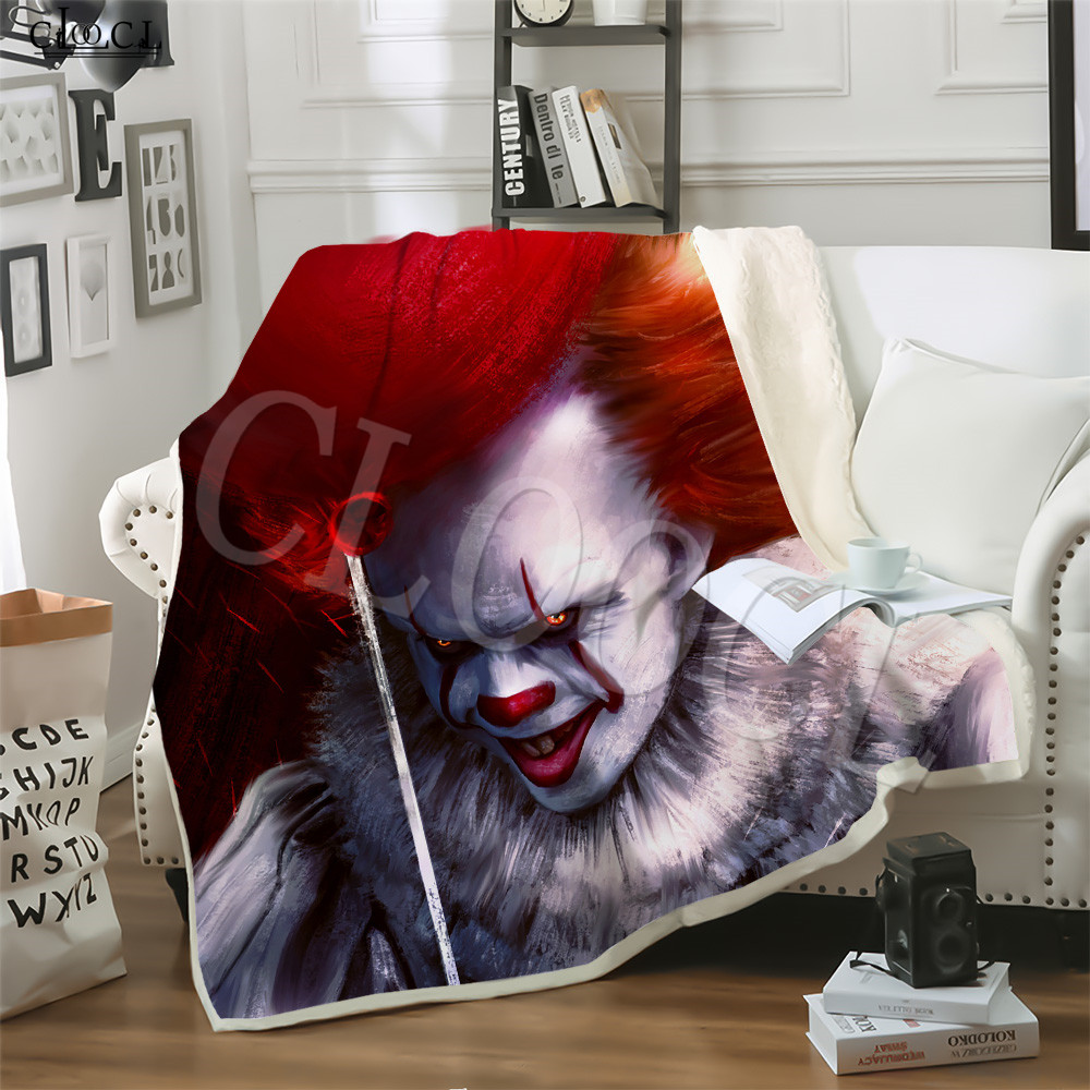 Movie It: Chapter 2 Anime Crazy Clown Adult Child Blanket 3D Print Soft Fleece Plush Blanket Travel Home Sofa Blankets For Beds