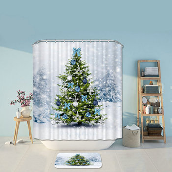 Merry Christmas Trees Santa Claus Shower Curtains Bathroom Curtain Bath Products Bathroom Decor with Hooks Waterproof