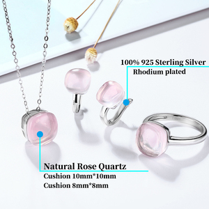 Image 3 - Natural Rose Quartz Sterling Silver Jewelry Sets Cabochon Cut 20.6 Carats Natural Pink Crystal Top Quality Stone Romantic Style