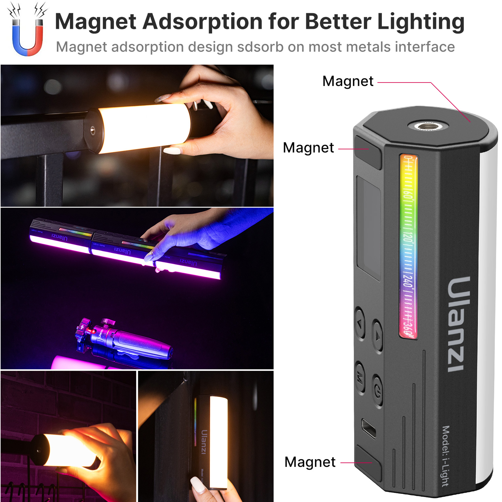 Ulanzi Compact Magnetic RGB Tube Light 5