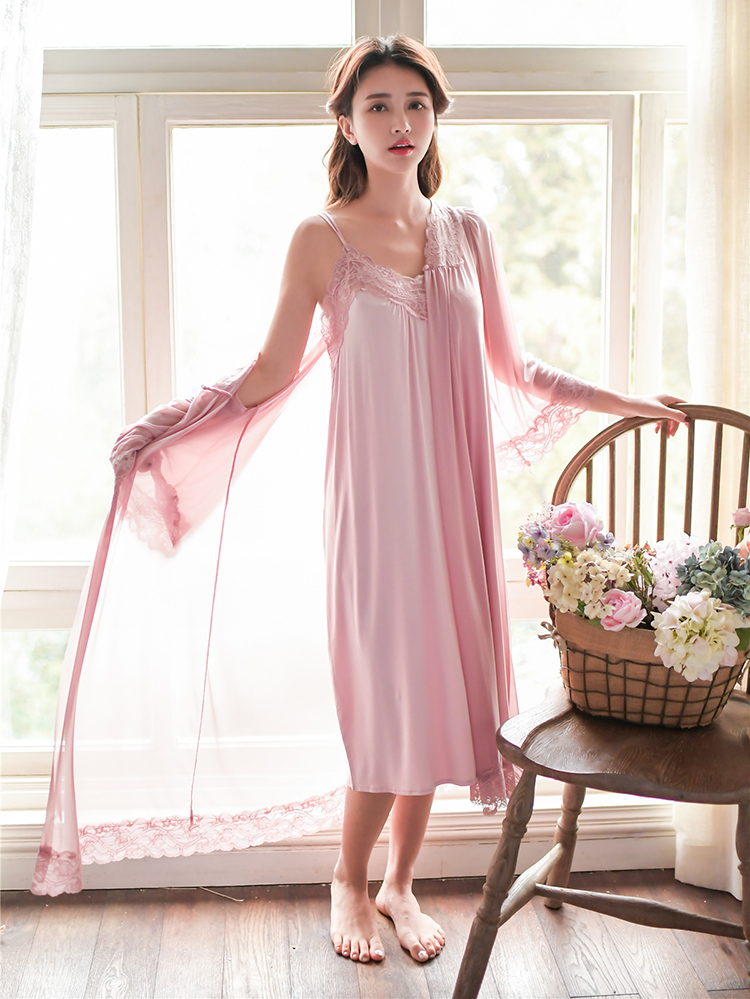 Fashion Women Summer Season Sexy Modal Robe Sexy Spaghetti Strap V-neck Nightgown And Full Sleeves Mesh Robe With Lace Decor