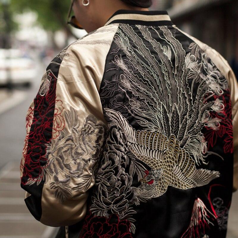 Makuluya High Quality Reversible Coats High Street Streetwear Yokosuka Peony Phoenix Mountain Sea Embroidery Baseball Jacket L6