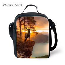 ELVISWORDS Children School Insulated Lunch Bags Kawaii Deer Pattern Toddler Waterproof Box Family Outdoor Picnic Container