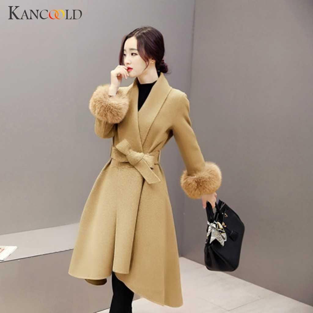 KANCOOLD coats MINIMALISTA ESTILO Plus Size Feminina Outono Inverno Quente manga Comprida Botão Falso casacos e jaquetas mulheres 2019Sep20
