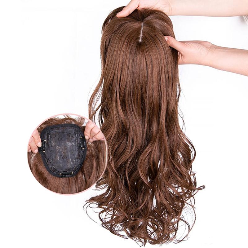Естественная волна Для женщин синтетические волосы светильник коричневый цельный наращивание волос с челкой высокое Температура волокно ...