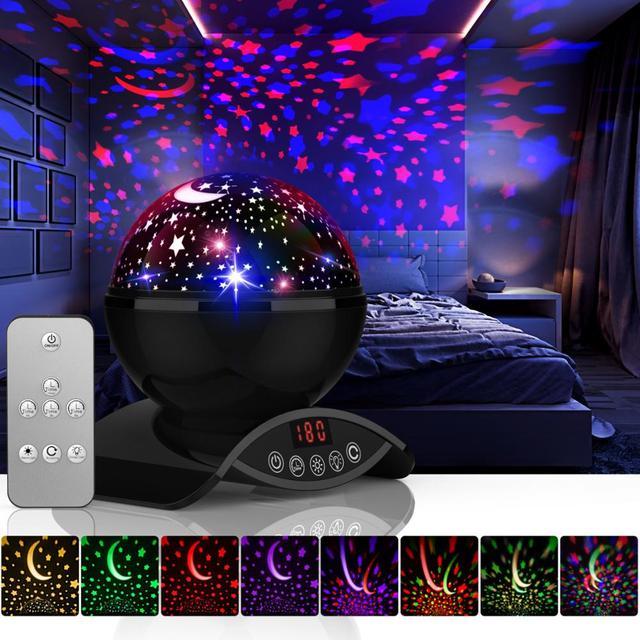 هدايا للأطفال جو مصباح غالاكسي العارض ستار السماء المرصعة بالنجوم LED ليلة ضوء العارض القمر مصباح بطارية USB غرفة نوم مصباح