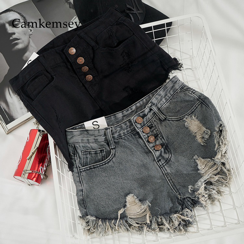 CamKemsey Sexy Summer Hot Shorts Women Fashion Single Breasted Ripped Holes Cuffed Tasseles Basic High Waist Denim Shorts
