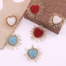 Bohemian Handmade Stud Oorbellen voor Vrouwen Statement Crystal Heart Earrings For Women Minimalist Fashion Girls Gifts
