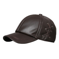 XdanqinX Men's Sheepskin Leather Baseball Caps Adjustable Head Size Genuine Leather Hat Novelty Women's Ponytail Tongue Bone Cap