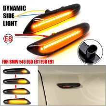 LED Side Marker Mirror Indicator Lamp Flowing Water Turn Signal Light Amber For BMW E90 E91 E92 E93 E60 E87 E82 E61