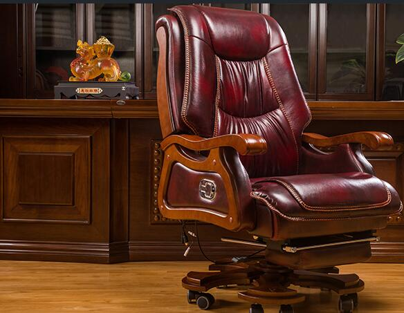 Genuine leather boss chair can lie down massage big shift chair solid wood swivel chair computer chair home lift office chair|Office Chairs| |  - title=