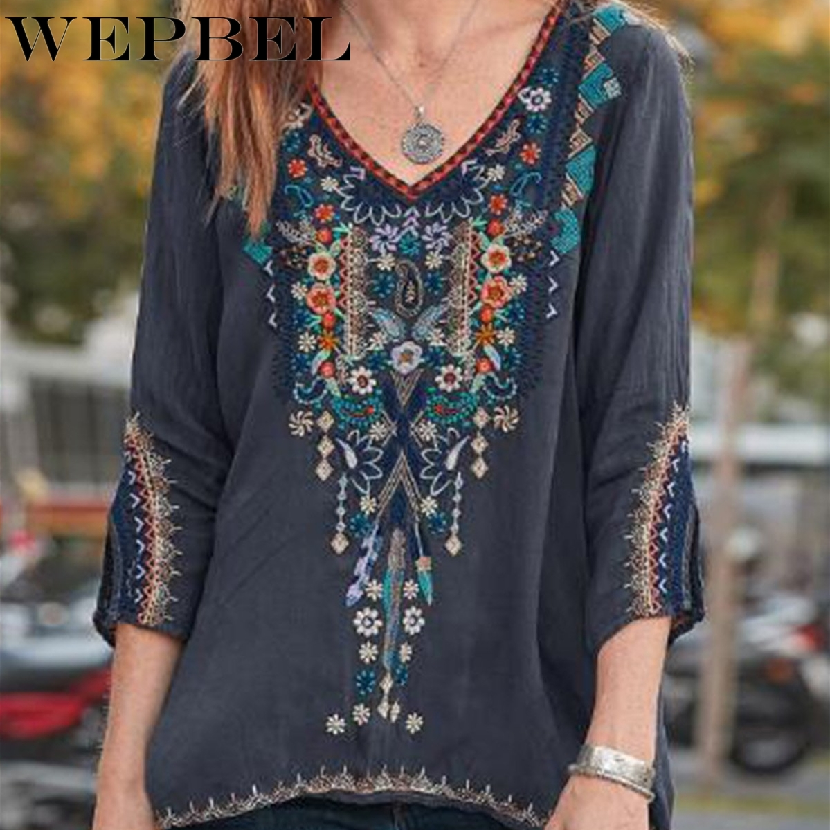 Wepbel Women Blouses Loose Long Sleeve Plus Size Shirt Fashion Floral Embroidered Tops Plus Size Women Clothing Streetwear