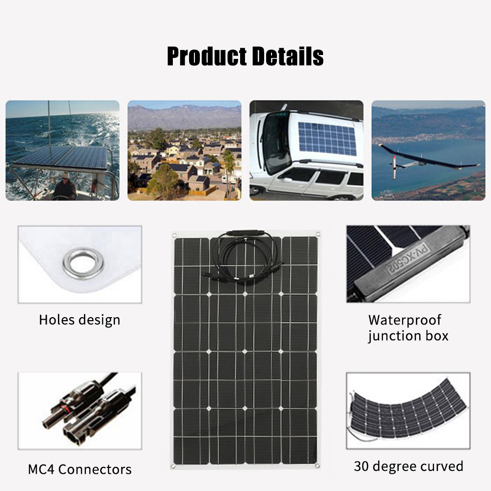 New Solar Panel High Efficiency Monocrystalline Silicon Solar Cell Waterproof Solar Charger for Battery Charging Camping Car Boa