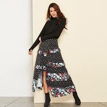2019 Lolita Saia Midi Polyester Empire Patchwork Ruffled Slit European And American Skirts Hot New Long Skirt Womens For Women