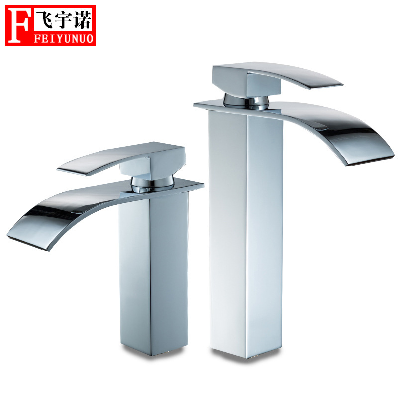 Cross Border For Square Tap Single Bore Faucet Hot And Cold Water Basin Faucet Wide-Mouth Falls Tap
