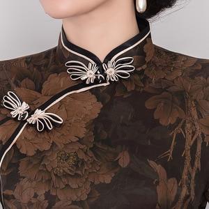 Image 5 - 2019 Real Quinceanera Retro Xiangyunshan Silk Cheongsam, The Middle Sleeve Length Is Improved, Body Slim, Cheongsam Skirt Heavy