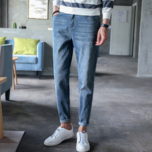 HW Mens Washed Demin Pants Fashion Spring Slim Fit Streetwear Casual Male Demin юбка demin