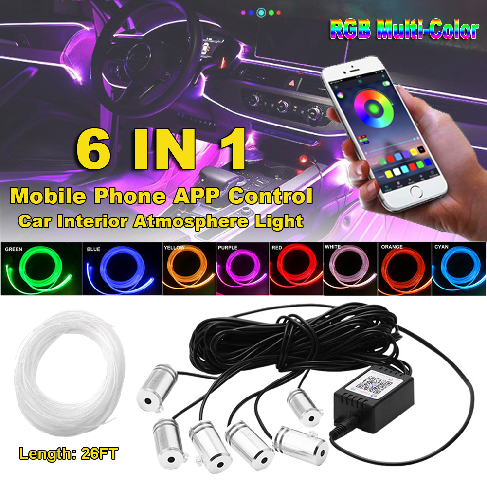 8M Car Interior Lighting Auto RGB LED Strips Ambient Light APP Bluetooth Control Auto Atmosphere Decorative Lamp with DIY Music