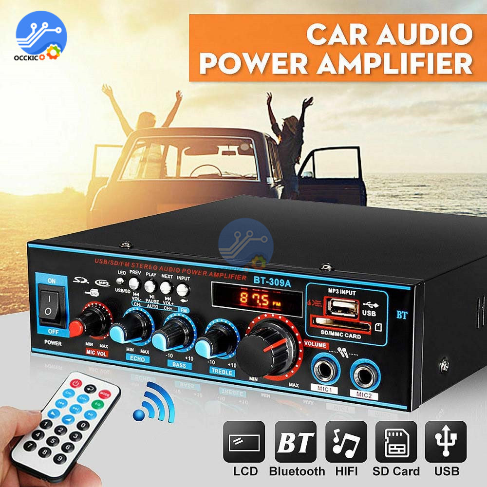<font><b>800W</b></font> Bluetooth Home <font><b>Amplifier</b></font> High Power <font><b>HIFI</b></font> 12/220V Home Theater Audio FM USB SD Bluetooth Remote Control Subwoofer Stereo image