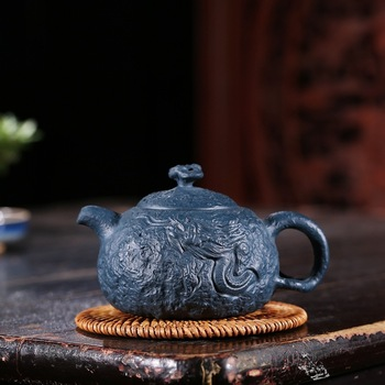 Infusion Of Tea Kettle Ganoderma Lucidum Gong Dark-red Enameled Pottery Teapot Yixing Raw Ore Azure Mud Pure Manual Make Mixed