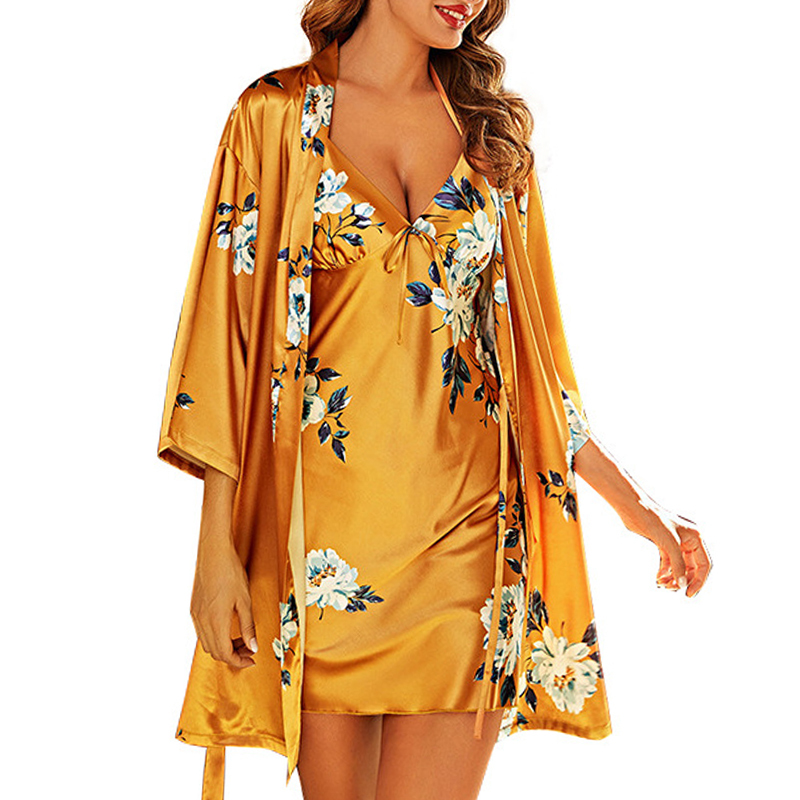 Hasfia Spring & Summer Robes And Nightdress Set Womens Casual Faux Silk Printed Floral Pajamas Suit Ladies Viscose Two Pieces
