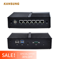 Fanless Mini PC 6 Intel LAN Celeron 3865U AES NI Firewall router Mini Computer linux Ubuntu Windows 8 Micro PC Thin Client