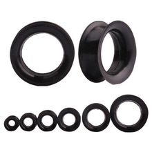 1Pair Black Silicone Plugs and Tunnels Thin Ear Tunnel Double Flared Ear Piercing Flesh Tunnel Ear Gauge Expander Stretchers
