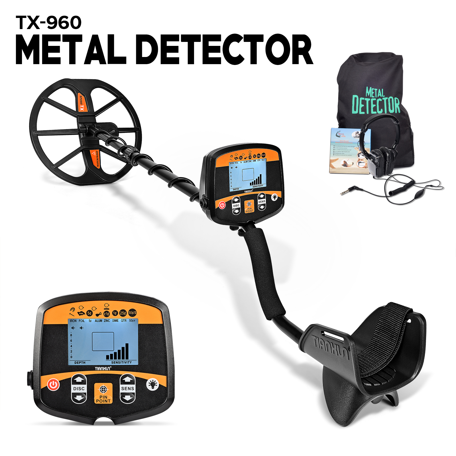 Professional Metal Detector Underground Depth Scanner Search Finder Gold Treasure Hunter Detecting Pinpointer TX-960