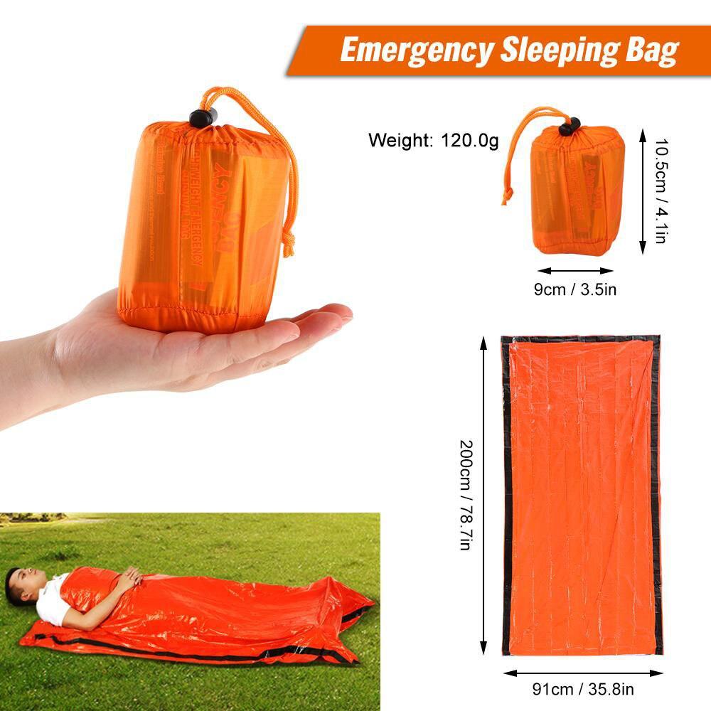 Outdoor Bivy Emergency Sleeping Bag Survival Blanket Kit Body Thermal Portable Waterproof Camping Hiking Emergency Sack Mylar Safety & Survival  - AliExpress