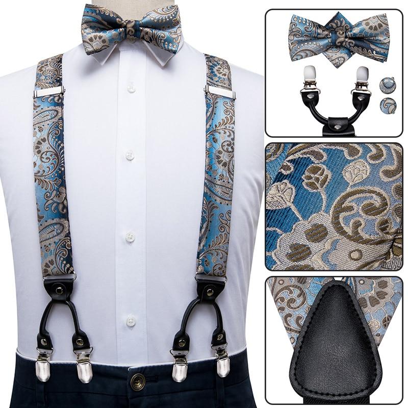 BD-3017 Hi-Tie Silk Adult Men's Suspenders Bow Tie Set Leather Metal 6 Clips Braces Fashion Blue Paisley Elastic Suspenders Men