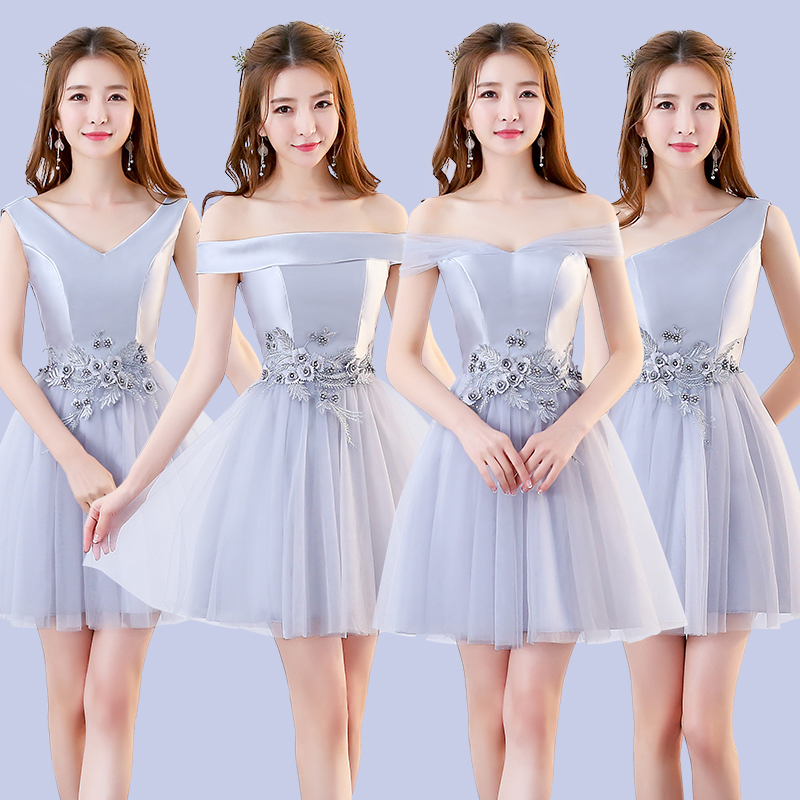 Gray Embroidery Pink Bridesmaid Dress Short Plus Size Sleeveless Short Party Dress Sister Elegant Guests Prom Sexy Bridal Dress