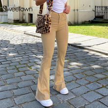 Sweetown Schwarz Goth E Mädchen Y2K Jeans Frauen Niedriger Taille Flare Hosen Dark Wissenschaft Ästhetischen Vintage 90s Streetwear Denim hosen