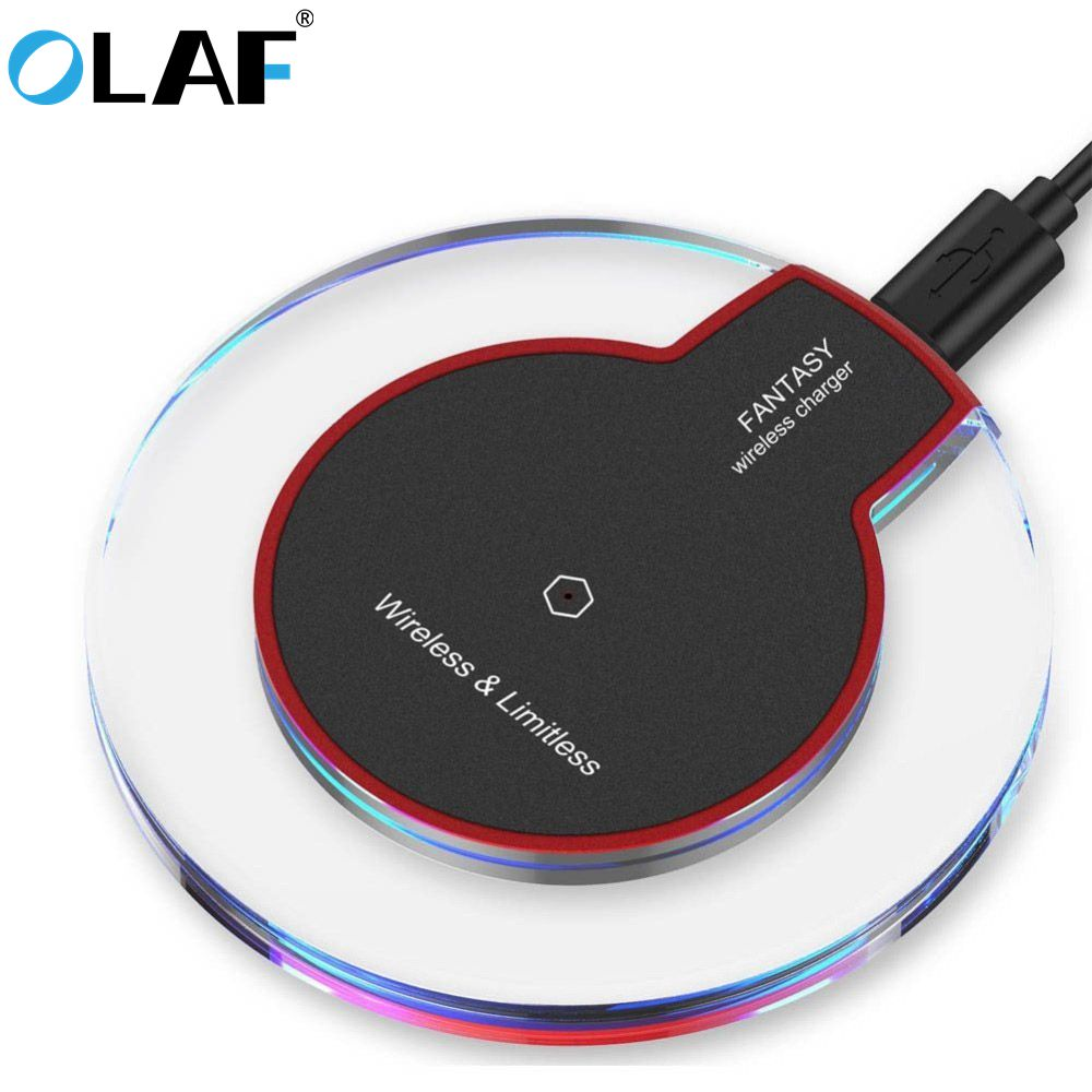 Беспроводное зарядное устройство Olaf QI для телефона iPhone XS Max XR, светодиодный USB, беспроводное зарядное устройство, быстрая зарядка для samsung ...