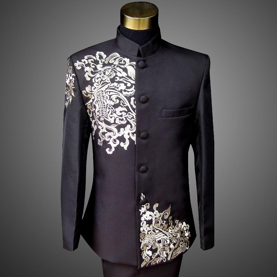 Chinese Stand Collar Suit Men Slim Fit Tang Suit Male Costume Homme Dress Men 2 Pcs DJ Host Embroidery Black Designer Suit