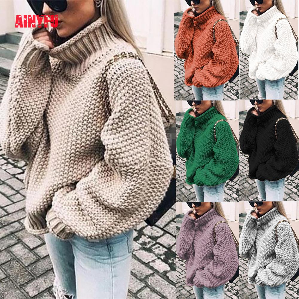 Autumn Winter Casual Long Sleeve Turtleneck Women Clothing Knitted Splicing Loose Pullovers Ladies Solid Batwing Sleeve Sweater