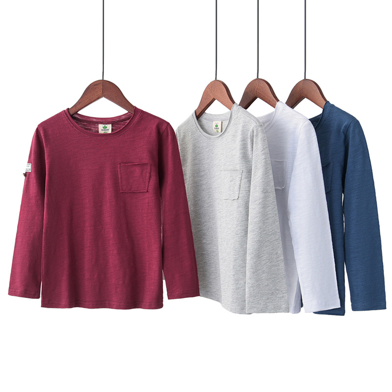 T-Shirt Spring Bamboo Thin Long-Sleeved Section Cotton Children's Boy