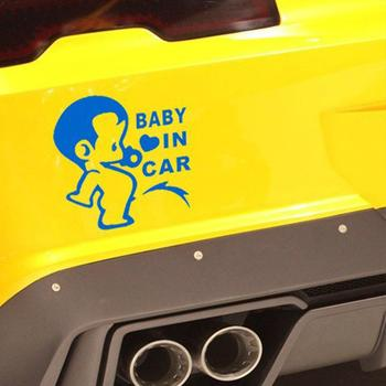 Funny Car styling 3D Cartoon Stickers Baby In Car Warning Car-Sticker Baby on Board Car Accessories High Quality image