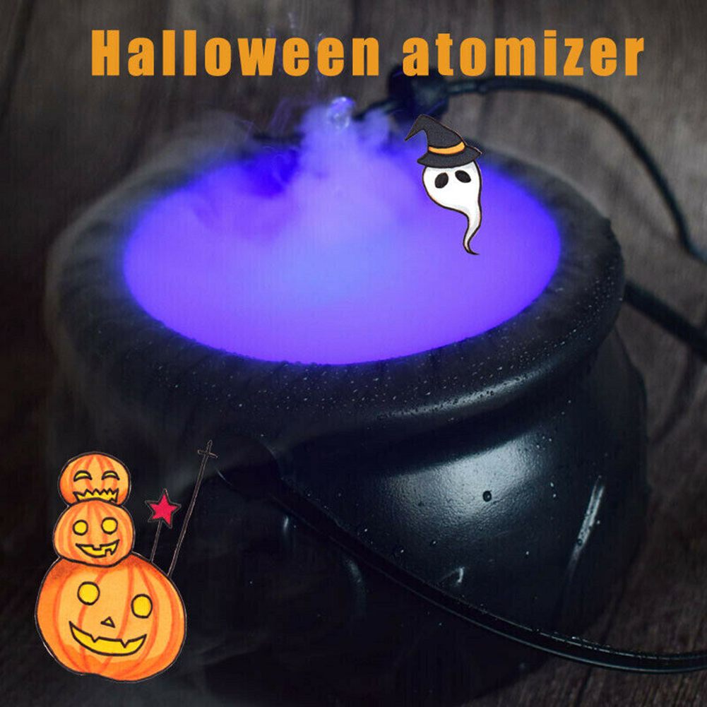 Halloween Witch Pot Smoke Machine Mist Maker Fogger Water Fountain Fog Machine Color Changing Party Prop Halloween Decoration