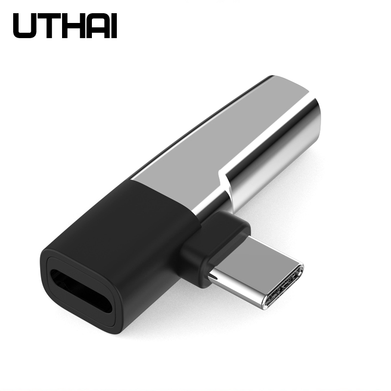 UTHAI C61 Type-c To 3.5mm Audio Charging 2 In 1 Adapter For Macbook Android Converter Fast Charge MINI Size USB C Music Adapters