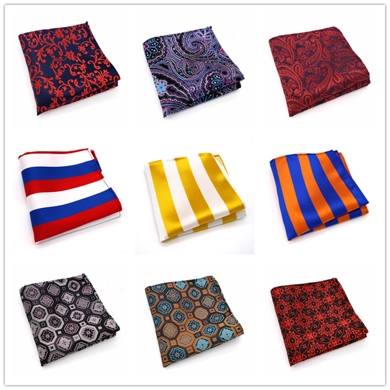 163-184 Brand New Multicolor Groom Jacquard Woven Mens Pocket Square Colorful Stripes Hanky Silk Fashion Wedding Handkerchief