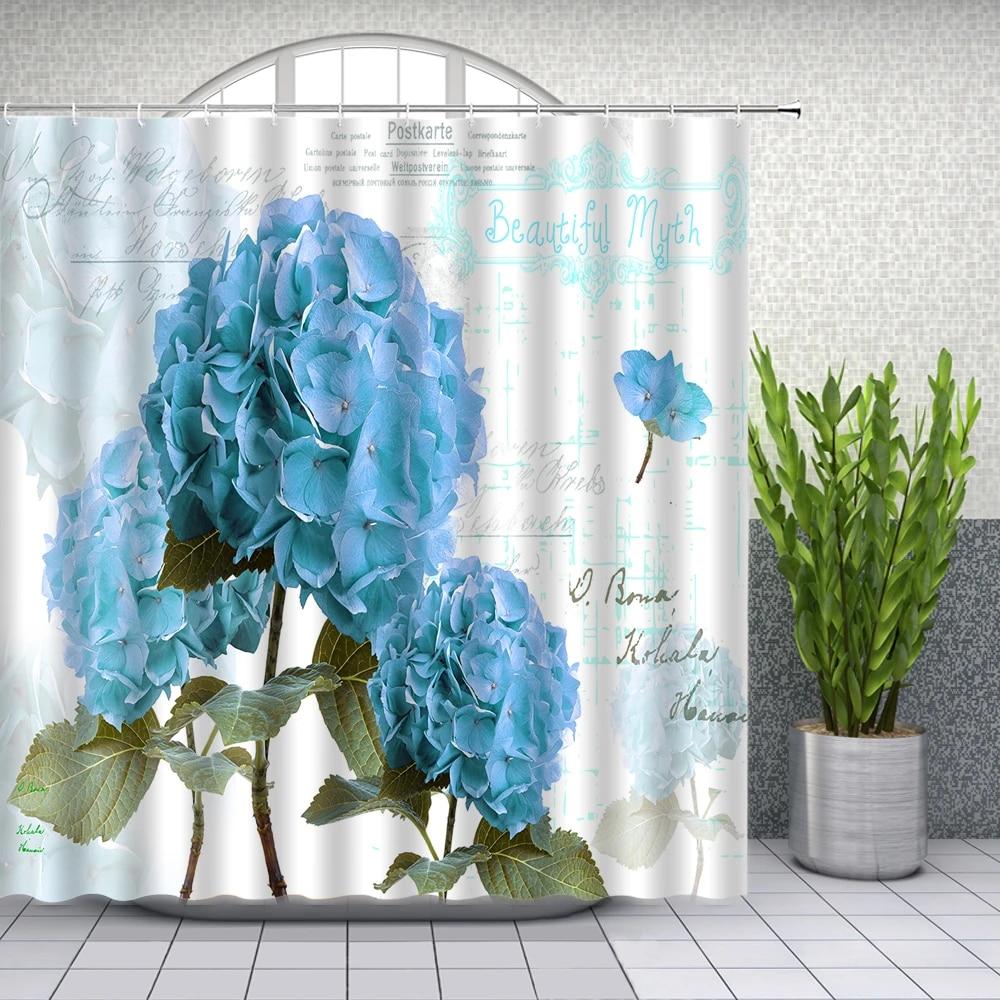 spring flower shower curtains blue floral plant pattern bathroom decor home bath waterproof polyester cloth curtain set