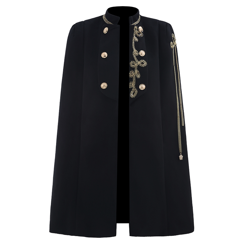 Autumn Winter Vintage Court Style Cloak Woolen Coat Women Stand Collar Chain Fashion Party Shawl Overcoat