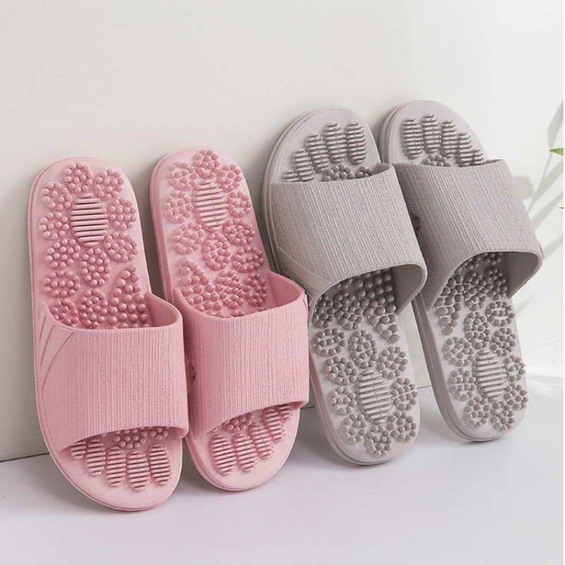 Women Summer Slippers 2019 Indoor Non-slip Massage Shoes Unisex Solid Soft Bottom Couple Slippers Home Sandals Men Massage Point