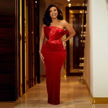 Red sequins strapless sleeveless mermaid wedding banquet evening dress prom party show Aso Ebi plus size dress custom