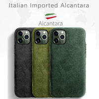 SanCore for iPhone 11 pro Max Phone Case ALCANTARA LOGO customed Leather Full protection Business Luxury Phone Shell Suede cover