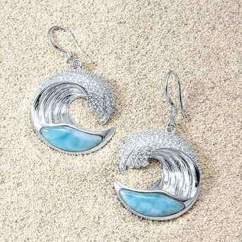 Solid 925 Sterling Silver Natural Larimar Wave Earrings Silver Drop Earrings For Women Gift - DISCOUNT ITEM  0% OFF All Category